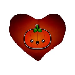 Simple Orange Pumpkin Cute Halloween Standard 16  Premium Flano Heart Shape Cushions
