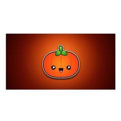 Simple Orange Pumpkin Cute Halloween Satin Shawl