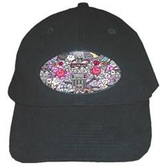 0 Sad War Kawaii Doodle Black Cap