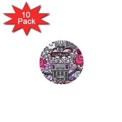 0 Sad War Kawaii Doodle 1  Mini Buttons (10 Pack)