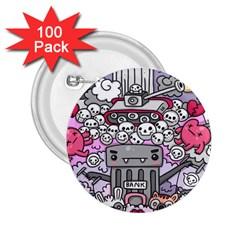0 Sad War Kawaii Doodle 2 25  Buttons (100 Pack)