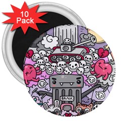 0 Sad War Kawaii Doodle 3  Magnets (10 Pack)