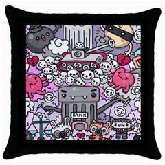 0 Sad War Kawaii Doodle Throw Pillow Case (black)