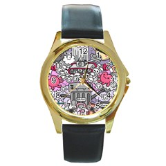 0 Sad War Kawaii Doodle Round Gold Metal Watch