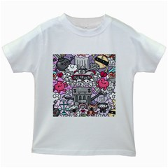 0 Sad War Kawaii Doodle Kids White T Shirts