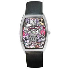 0 Sad War Kawaii Doodle Barrel Style Metal Watch