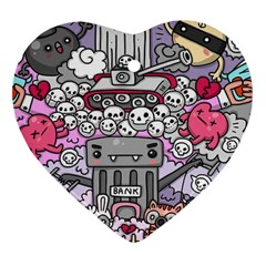 0 Sad War Kawaii Doodle Heart Ornament (Two Sides)