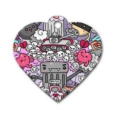 0 Sad War Kawaii Doodle Dog Tag Heart (one Side)