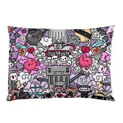 0 Sad War Kawaii Doodle Pillow Case