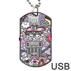 0 Sad War Kawaii Doodle Dog Tag Usb Flash (one Side)