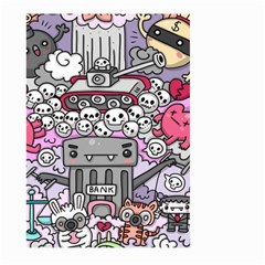 0 Sad War Kawaii Doodle Large Garden Flag (two Sides)