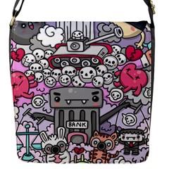 0 Sad War Kawaii Doodle Flap Messenger Bag (s)