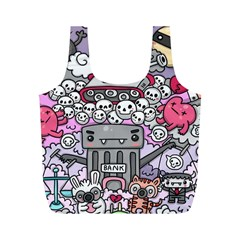 0 Sad War Kawaii Doodle Full Print Recycle Bags (m)