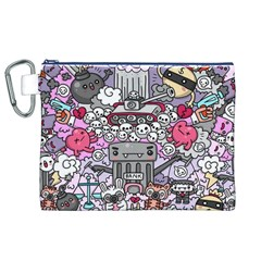 0 Sad War Kawaii Doodle Canvas Cosmetic Bag (xl)