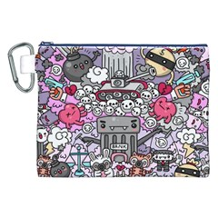 0 Sad War Kawaii Doodle Canvas Cosmetic Bag (XXL)