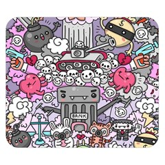 0 Sad War Kawaii Doodle Double Sided Flano Blanket (small)