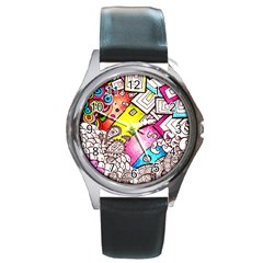 Beautiful Colorful Doodle Round Metal Watch