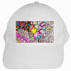 Beautiful Colorful Doodle White Cap