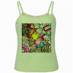 Beautiful Colorful Doodle Green Spaghetti Tank