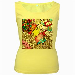 Beautiful Colorful Doodle Women s Yellow Tank Top