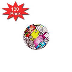 Beautiful Colorful Doodle 1  Mini Magnets (100 Pack)