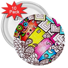 Beautiful Colorful Doodle 3  Buttons (10 Pack)