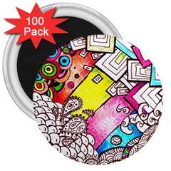 Beautiful Colorful Doodle 3  Magnets (100 Pack)