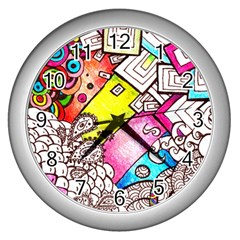 Beautiful Colorful Doodle Wall Clocks (Silver)