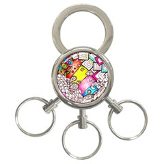Beautiful Colorful Doodle 3 Ring Key Chains