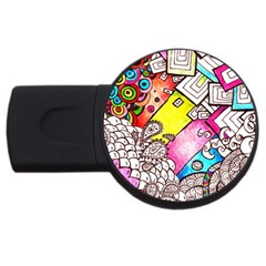 Beautiful Colorful Doodle USB Flash Drive Round (4 GB)