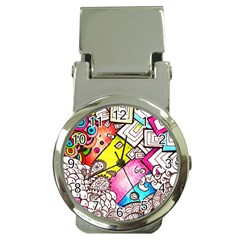 Beautiful Colorful Doodle Money Clip Watches