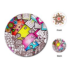 Beautiful Colorful Doodle Playing Cards (round)