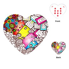 Beautiful Colorful Doodle Playing Cards (heart)