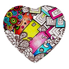 Beautiful Colorful Doodle Heart Ornament (Two Sides)