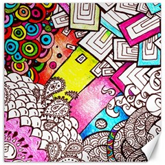 Beautiful Colorful Doodle Canvas 16  X 16