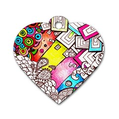 Beautiful Colorful Doodle Dog Tag Heart (One Side)