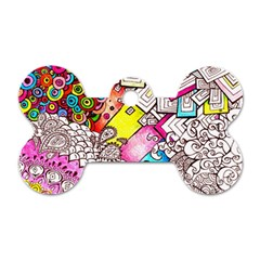 Beautiful Colorful Doodle Dog Tag Bone (two Sides)