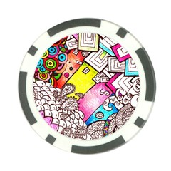 Beautiful Colorful Doodle Poker Chip Card Guard