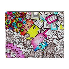 Beautiful Colorful Doodle Cosmetic Bag (XL)