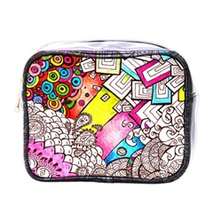 Beautiful Colorful Doodle Mini Toiletries Bags
