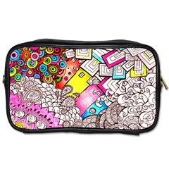 Beautiful Colorful Doodle Toiletries Bags 2 Side
