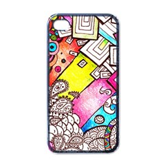Beautiful Colorful Doodle Apple Iphone 4 Case (black)
