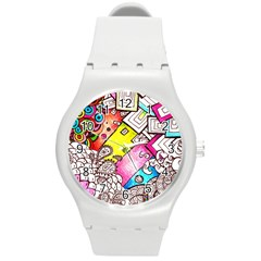 Beautiful Colorful Doodle Round Plastic Sport Watch (m)