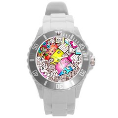 Beautiful Colorful Doodle Round Plastic Sport Watch (l)