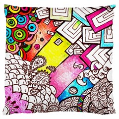 Beautiful Colorful Doodle Large Cushion Case (Two Sides)