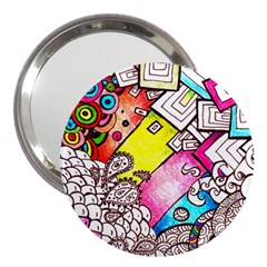Beautiful Colorful Doodle 3  Handbag Mirrors