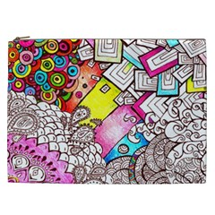 Beautiful Colorful Doodle Cosmetic Bag (xxl)