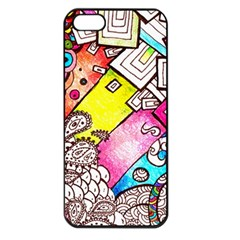 Beautiful Colorful Doodle Apple Iphone 5 Seamless Case (black)