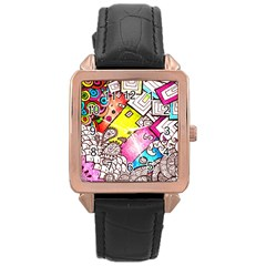 Beautiful Colorful Doodle Rose Gold Leather Watch