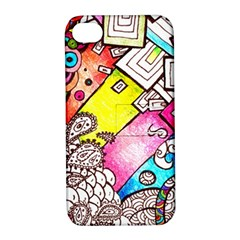 Beautiful Colorful Doodle Apple Iphone 4/4s Hardshell Case With Stand